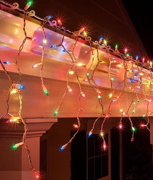 Icicle Christmas Lights.Icicle Lights Multicolor 100 Bulbs 6 5 White Wire