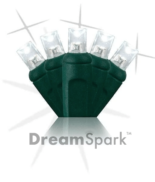 "5mm LED Smooth Fade Lights - DreamSpark™ - Pure White - 70 Bulbs, 4"" Spacing - NEW!"