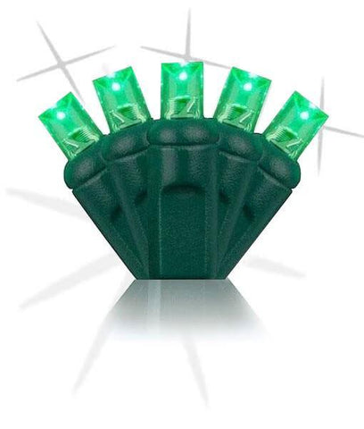 "PRE ORDER NOW: 5mm Green Strobe Lights - *Strobing/Static* LED Christmas Lights - 50 Bulbs - 6"" Spacing"