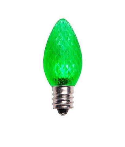 C7 Green SMD LED Christmas Light Bulbs - Faceted - Pack of 25