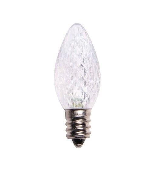 C7 Pure White LED Christmas Light Bulbs - Faceted - Pack of 25