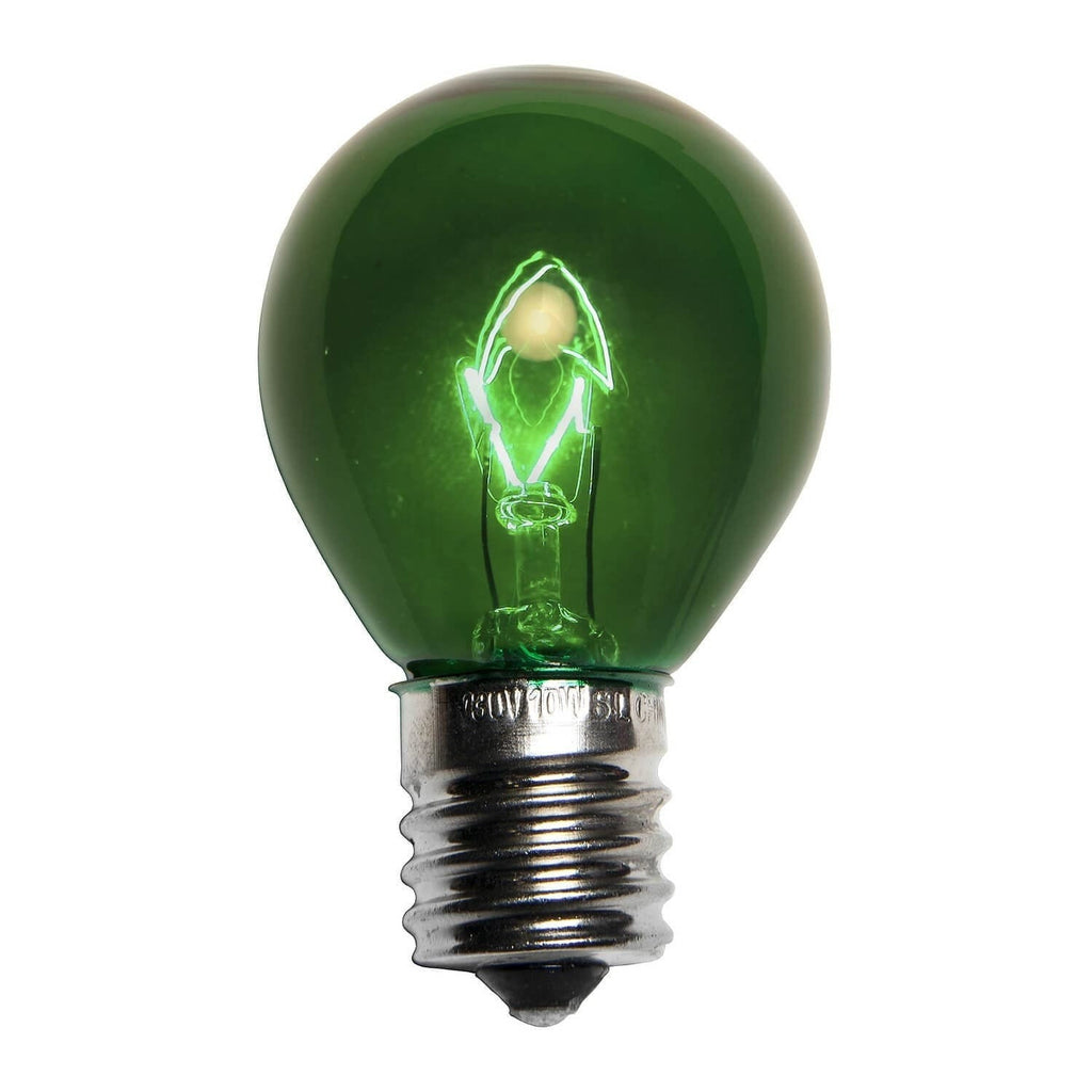 S11 Green Transparent Bulbs - E17 / C9 Base - Box of 25