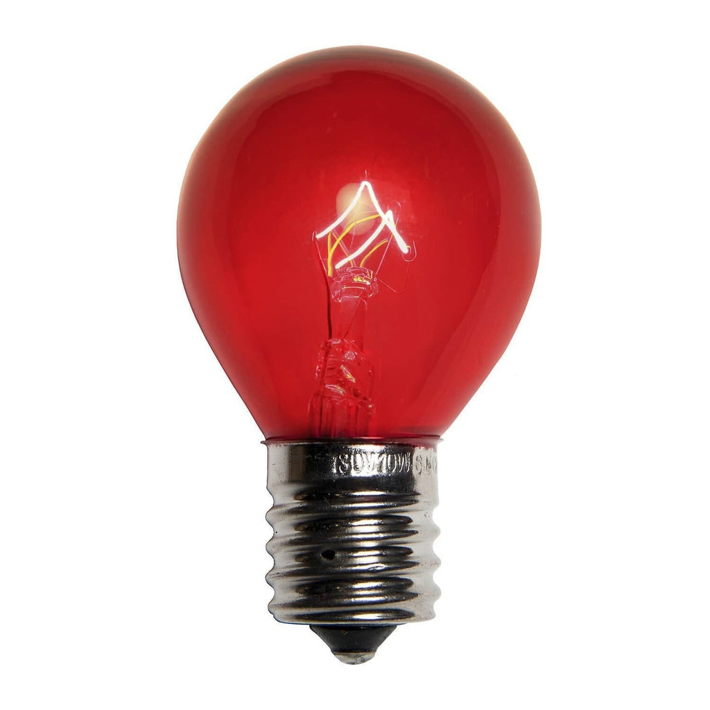 S11 Red Transparent Bulbs - E17 / C9 Base - Box of 25