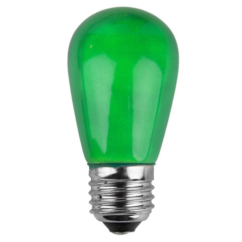 T50 / S14 Green Opaque Bulbs - E26 Medium Base - Box of 20