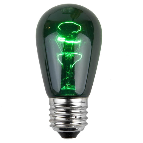 T50 / S14 Green Transparent Bulbs - E26 Medium Base - Box of 20