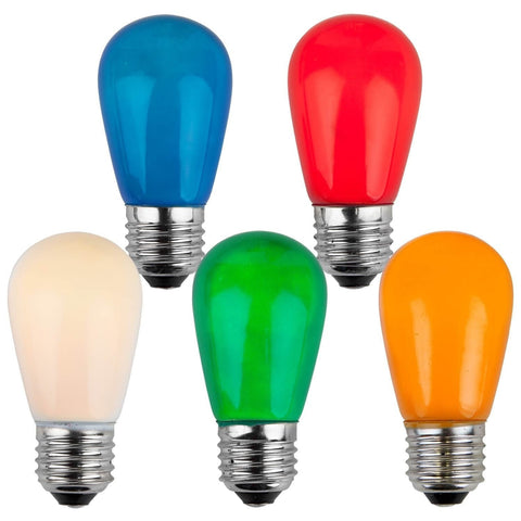 T50 / S14 Multicolor Opaque Bulbs - E26 Medium Base - Box of 20