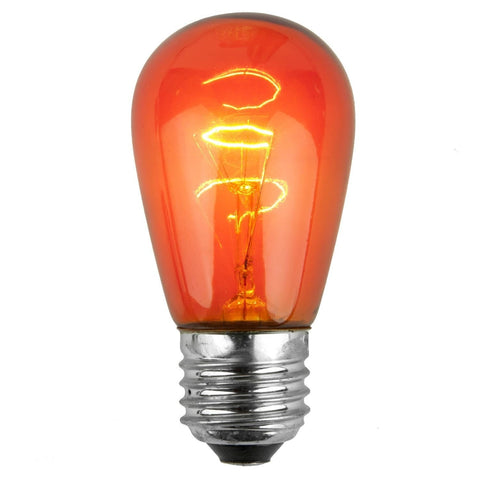 T50 / S14 Orange Transparent Bulbs - E26 Medium Base - Box of 20