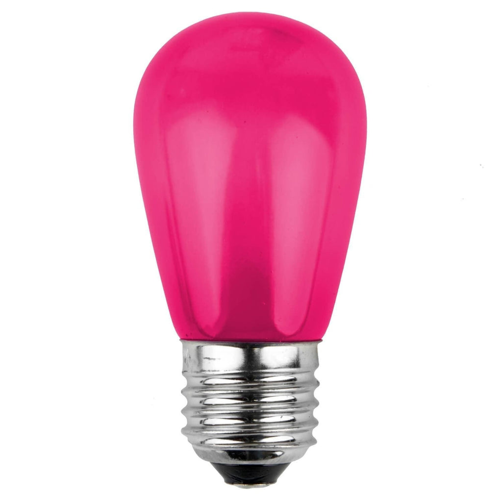 T50 / S14 Pink Opaque Bulbs - E26 Medium Base - Box of 20