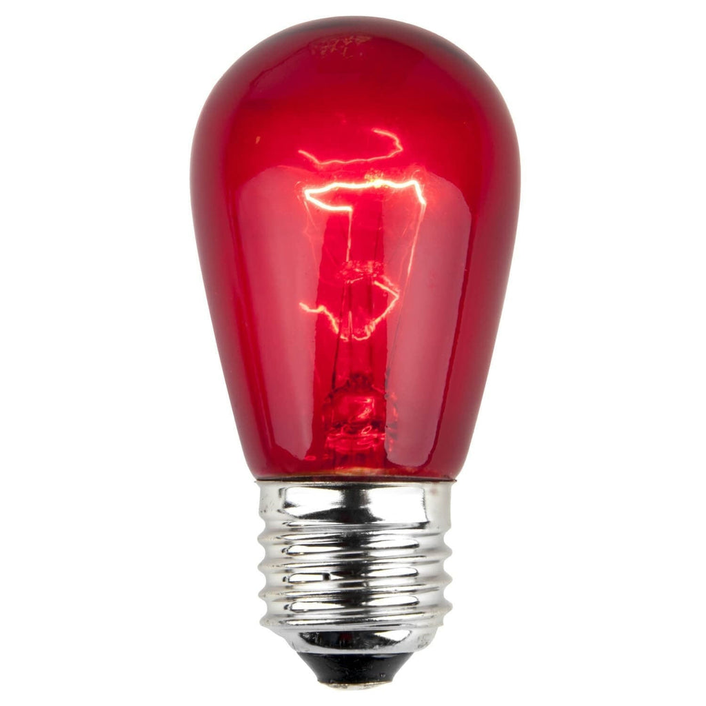 T50 / S14 Red Transparent Bulbs - E26 Medium Base - Box of 20