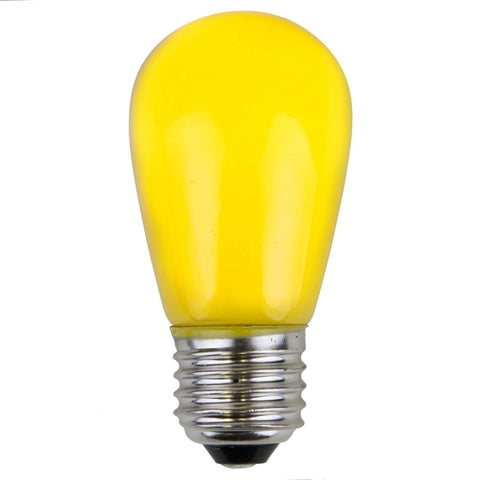 T50 / S14 Yellow Opaque Bulbs - E26 Medium Base - Box of 20