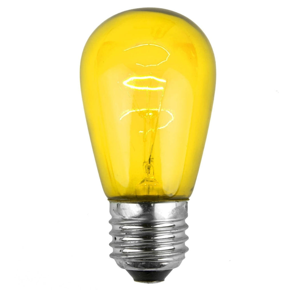 T50 / S14 Yellow Transparent Bulbs - E26 Medium Base - Box of 20