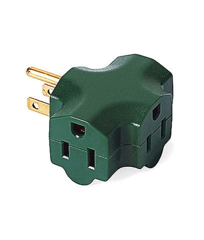 Triple Tap - 3 Way Grounded Plug - Green