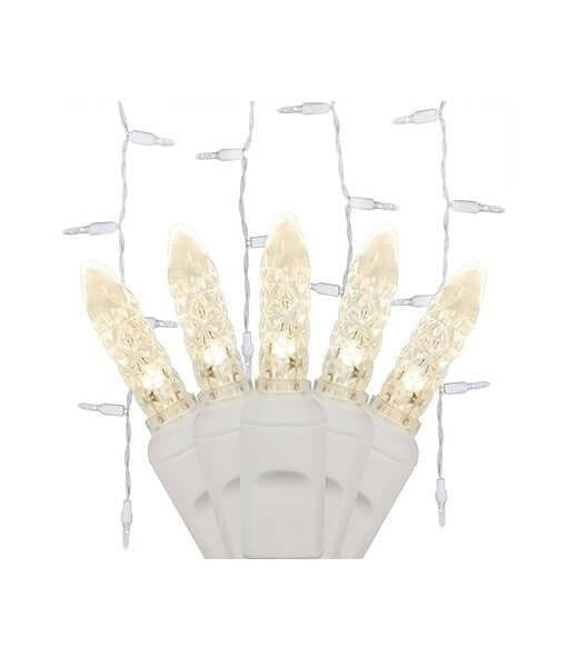 Warm White M5 LED Icicle Lights - 70 Bulbs - 7.5' Long - White Wire