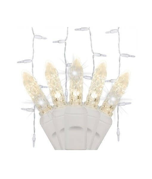 Warm White - Twinkle - M5 LED Icicle Lights - 70 Bulbs - 7.5' Long - White Wire