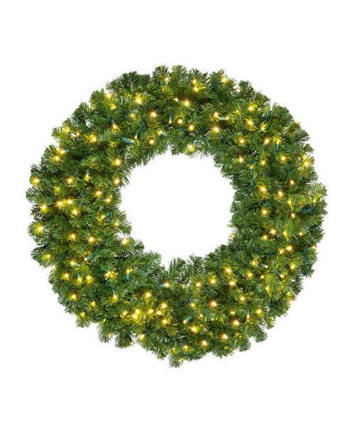 "Wreath - 48"" (4') Olympic Pine Wreath - Pre-Lit - LED Warm White"