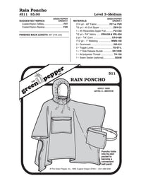 Adult's Rain Poncho Pattern - 511 - The Green Pepper Patterns
