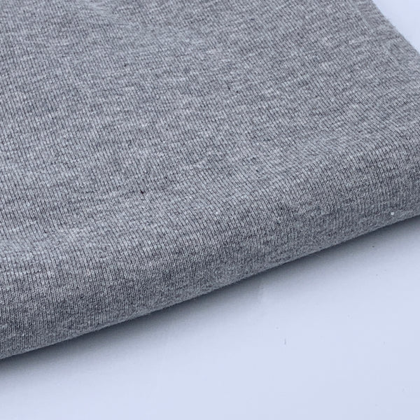 1x1 Organic Cotton Baby Rib - Grown & Made in USA - Heather Grey