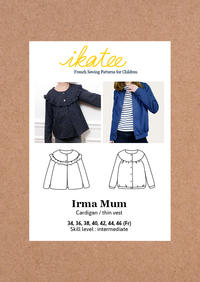Irma Mum Cardigan or Thin Vest Sewing Pattern- Ladies 34/46 - Ikatee