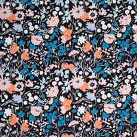Wildflowers - Midnight - Kitty Garden - Jenny Ronen - Birch Fabrics - Poplin