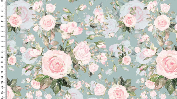 Sweet Roses - Old Green -  Oeko-Tex® - European Import - French Terry