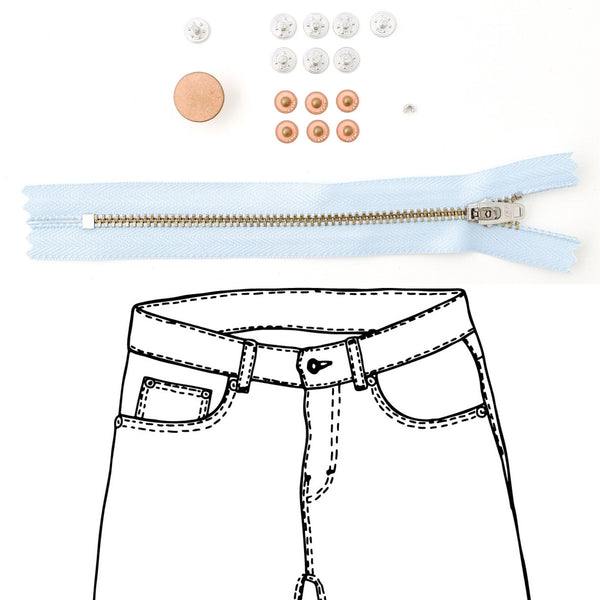 Jeans Hardware Kit - REFILL KIT -  Light Blue Zipper / Copper Hardware - Kylie And The Machine