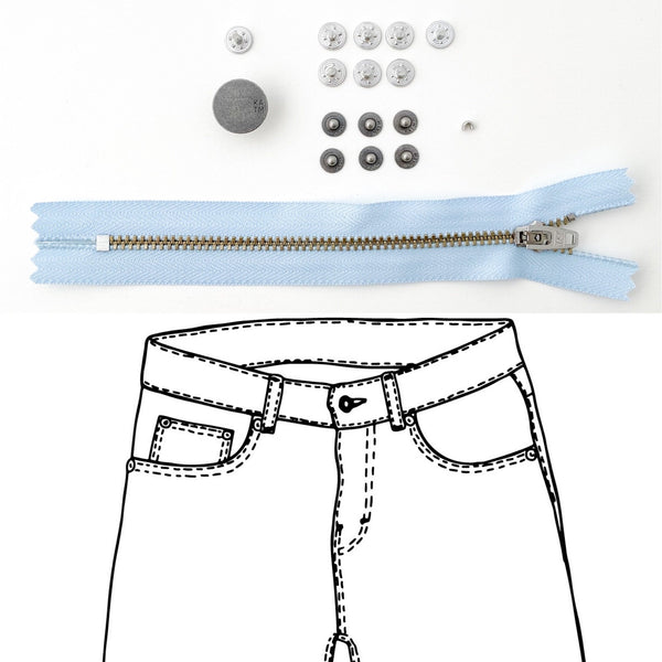 Jeans Hardware Kit - REFILL KIT -  Light Blue Zipper / Pewter Hardware - Kylie And The Machine