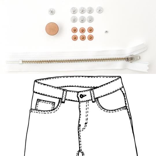 Jeans Hardware Kit - REFILL KIT -  White Zipper / Copper Hardware - Kylie And The Machine