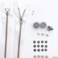 Jeans Hardware Kit - White Zipper / Pewter Hardware