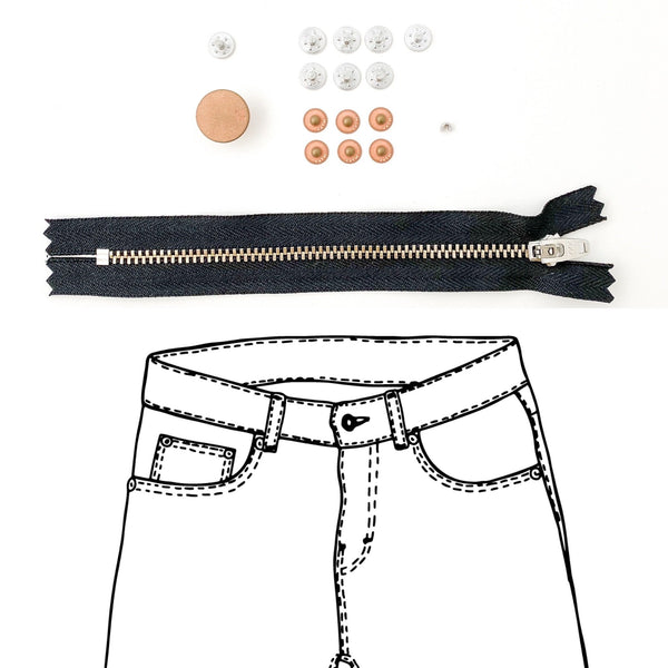 Jeans Hardware Kit - REFILL KIT -  Black Zipper / Copper Hardware - Kylie And The Machine
