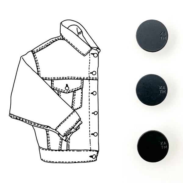 Denim Jacket Hardware Kit - Black Enamel - Kylie And The Machine