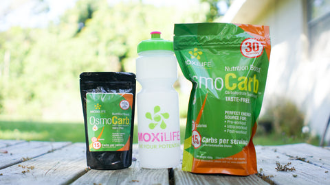 OsmoCarb Pouches with Moxilife water bottle, Highly branch chain carb additive for sports drinks