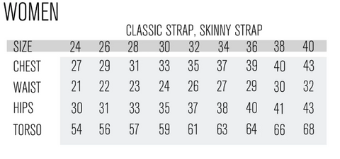 Sizing Chart for Women's One piece swimsuits