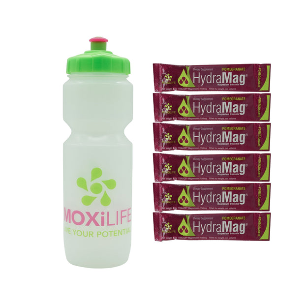 HydraMag® water bottle with 6 HydraMag® stick packs