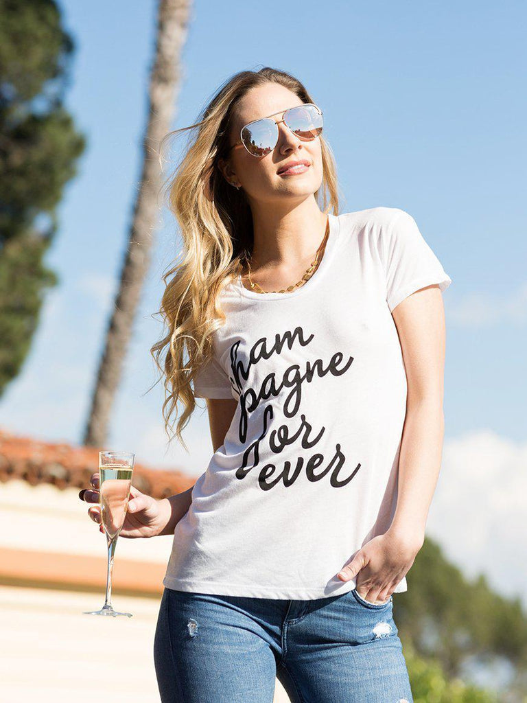 Champagne Forever Tee-T Shirt-Lazy J-Lazy J