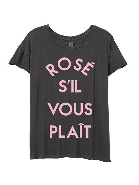 FINAL FEW ~ Rosé Si'l Vous Plaît Rocker Tee-T Shirt-Lazy J-Lazy J