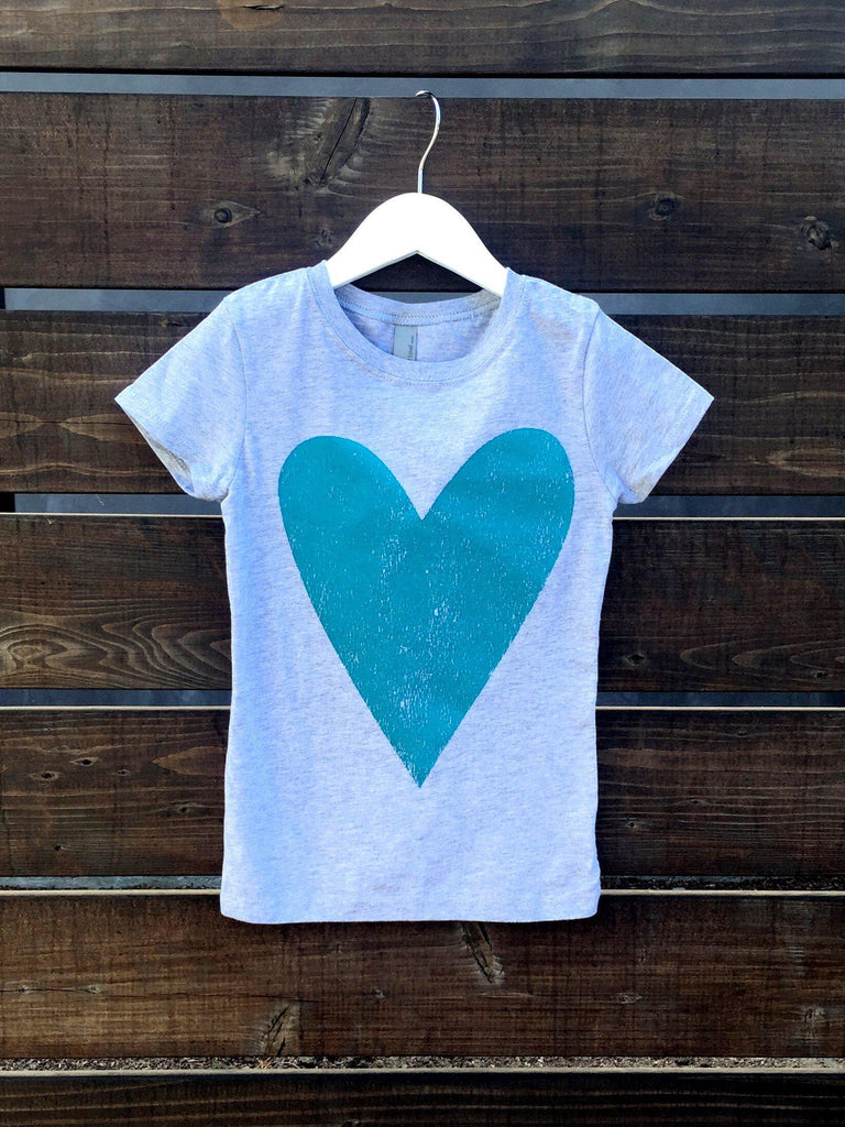 Heart Kids Tee in Aqua-Kids-Lazy J-Lazy J