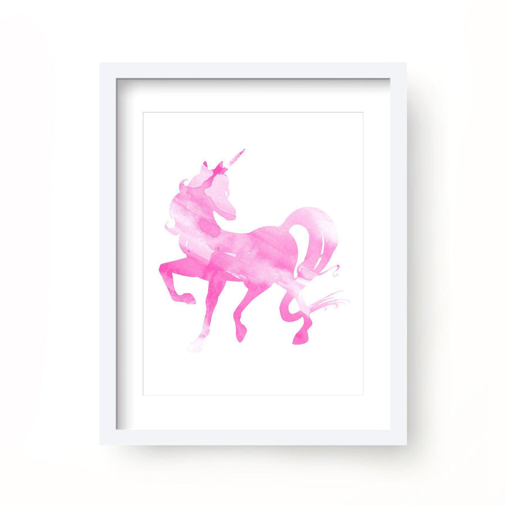 Pink Unicorn Watercolor Print-Art Prints-Lazy J-Lazy J