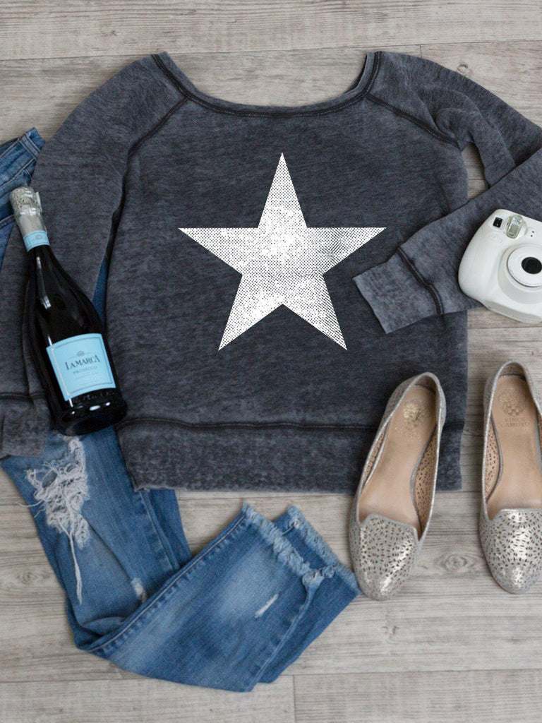 Star Sweatshirt in Acid Wash-Sweatshirt-Lazy J-Lazy J