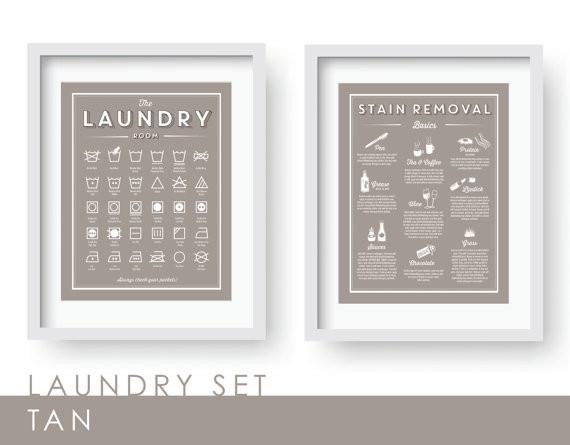 TAN- Laundry Room Decor Print SET- Available in 56 colors! (Laundry wall decor, laundry guide, laundry print, laundry schedule, organizational print.)-Instant Download! (Art Prints)-Lazy J-Lazy J