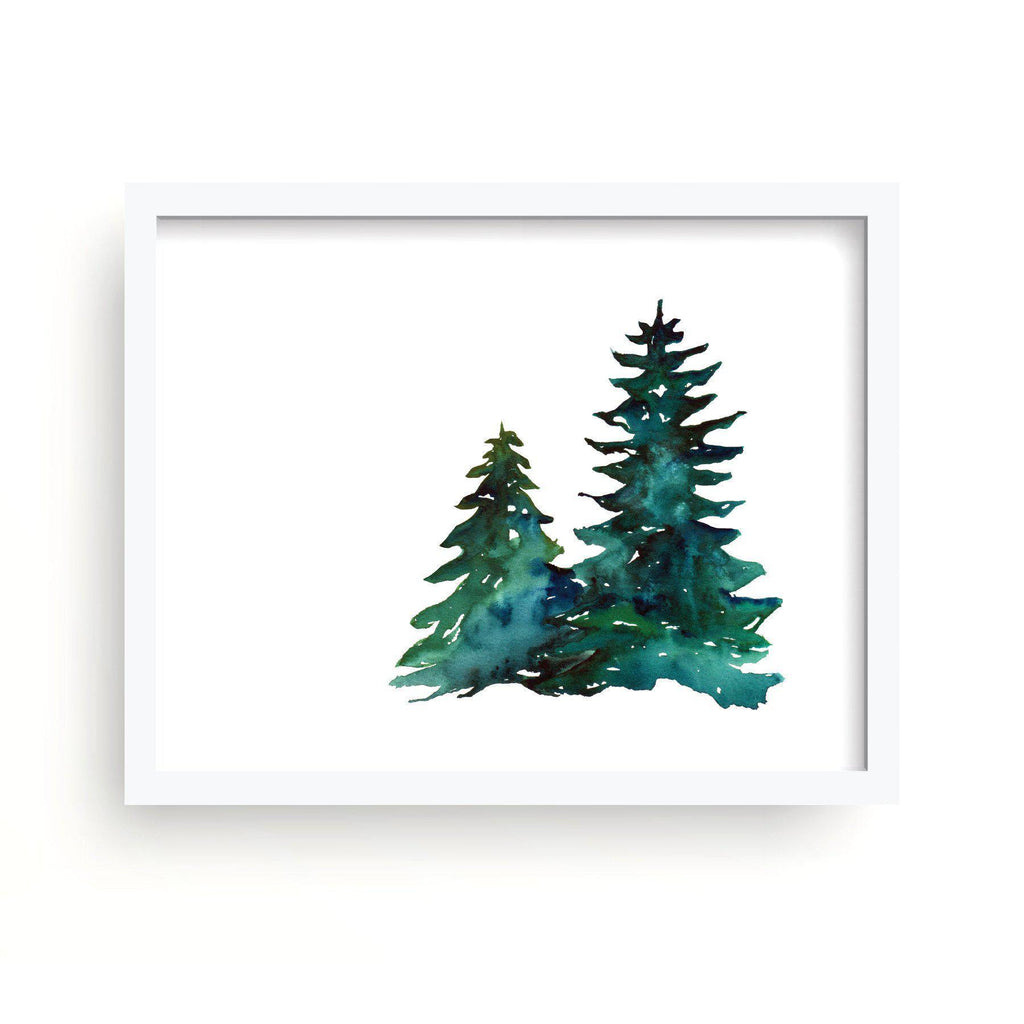 Two Pines Watercolor Print-Art Prints-Lazy J-Lazy J