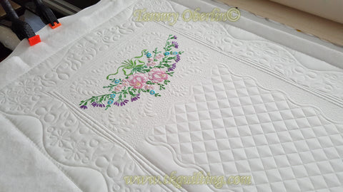 Vintage hand embroidered pillow case runner in progress