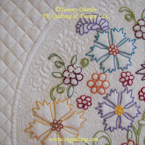 Detail-Marian's Floral Bouquet - Hand embroidered by Robbie Decker, Machine quilted by Tammy Oberlin
