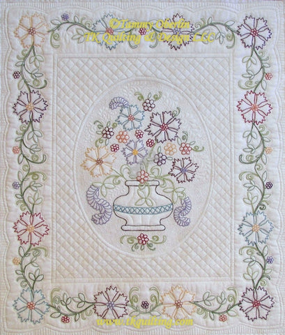 Marian's Floral Bouquet - Hand embroidered by Robbie Decker, Machine quilted by Tammy Oberlin.