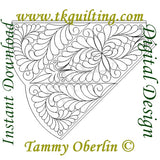 Computerized quilting pattern designed by Tammy Oberlin.  For use on Statler Stitcher, IntelliQuilter, Handi Quilter Pro-Stitcher, Compuquilter, ABM Innova and more.  Available in Statler Stitcher QLI and also BQM,CQP,DXF,HQF,IQP,PAT,PLT,QCC,QLI,SSD,TXT.  2295 Feathered Star Tree Skirt Section