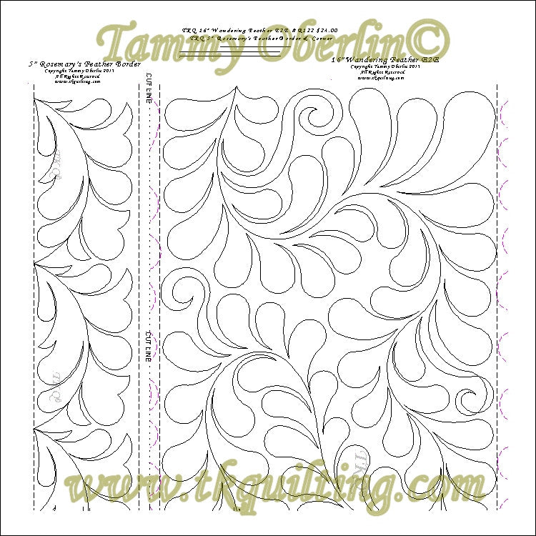 "R122 16"" Wandering Feather E2E & 5"" Rosemarys Feather Border - TK Quilting & Design"