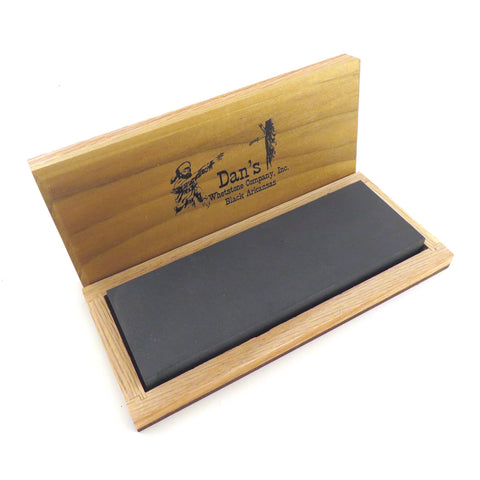 "Genuine Arkansas Black Surgical (Ultra Fine) Knife Sharpening Bench Stone Whetstone 6"" x 2"" x 1/2"" in Wood Box BAB-62-C"