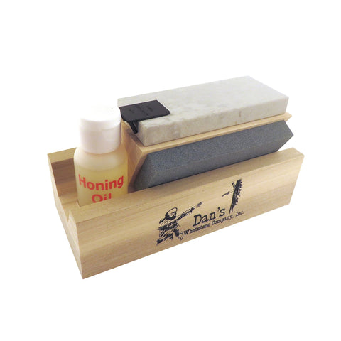 "Genuine 3 Stone Arkansas Full Size 4"" Tri Hone Whetstone Knife Sharpening System with Silicon Carbide (Coarse), Soft (Medium) and Hard (Fine) Stones 4"" X 1"" X 1/4"" TRI-4"