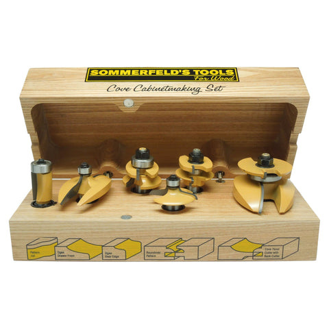 Sommerfeld 6 Piece Cove Cabinetmaking Set with New Patented Chip-Free Roundover Rail & Stile, 1/2-Inch Shank
