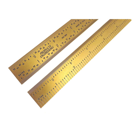 "PEC Tools Rigid 6"" 5R Titanium Nitride (TiN) Coated Extreme Scratch Resistant Ultra High Contrast Machinist Engineer Ruler Scale with Markings 1/10, 1/100, 1/32 & 1/64 502-006TN"