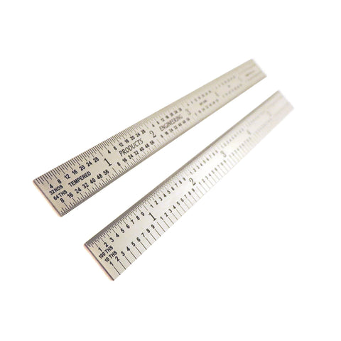 "PEC Tools USA 6"" Flexible Stainless 5R Machinist Engineer ruler / rule 1/64, 1/32, 1/10, 1/100"